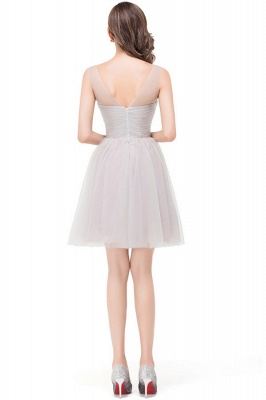 HARLOW | Elegant A-line Crew Mini Silver Bridesmaid Dresses With Ruffle