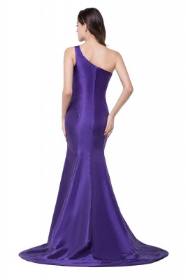 HALLE | Mermaid One-shoulder Sweep-length Satin Bridesmaid Dresses_3