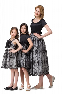 HEATHER| A-line Short Bowknot Flower Black Lace Mother Daughter Dresses_6