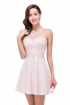 Pearl Pink A-line Crew Mini Bridesmaid Dresses