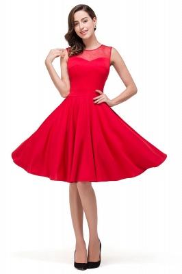A-line Crew Knee-length Red Bridesmaid Dresses