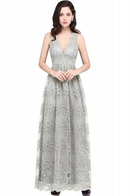 CHAYA | Sheath V-neck Floor-length Lace Navy Blue Prom Dress_7