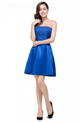 HANA | A-line Strapless Mini Lace-up Sashes Bridesmaid Dresses With Applique_4