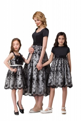 HEATHER| A-line Short Bowknot Flower Black Lace Mother Daughter Dresses_10