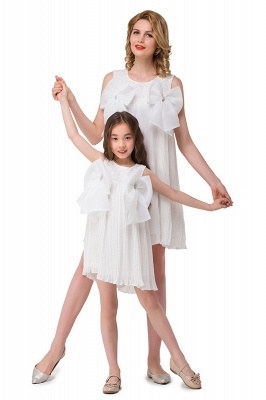 HELENA | A-line Mini Chiffon Jewel Strapless Bowknot Lace Mother Daughter Dresses_5