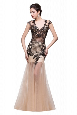 Mermaid V-Neck Floor-length Champagne Prom Dresses With Applique
