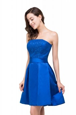 Strapless Mini Lace-up Sashes Bridesmaid Dresses With Applique
