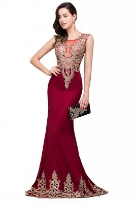HADASSAH | Mermaid Crew Sweep-length Burgundy Formal Dresses With Applique_4