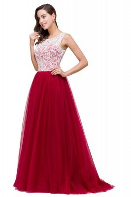 HANNA   A-line Crew Sweep-length Lace Chiffon Burgundy Bridesmaid Dresses With Button_9