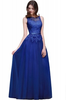 ATHENA | A-line Floor-Length Tulle Prom Dress With Lace_4