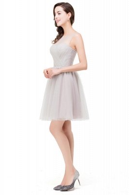 A-line Crew Mini Silver Bridesmaid Dresses With Ruffle