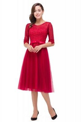HARPER | A-line Crew Knee-length Half Sleeve Sashes Bridesmaid Dresses With Applique_4