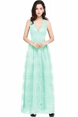 CHAYA | Sheath V-neck Floor-length Lace Navy Blue Prom Dress_8