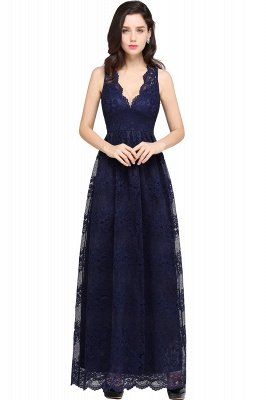 CHAYA   Sheath V-neck Floor-length Lace Navy Blue Prom Dress_6