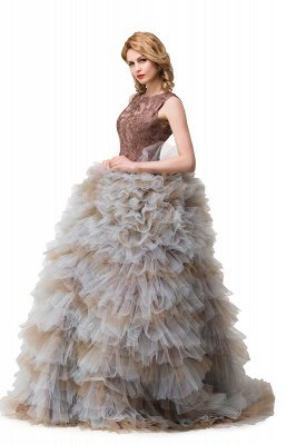 HEAVEN| Ball Gown Court Train Jewel Sleeveless Tulle Embroidery Mother Daughter Dresses_4