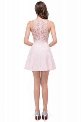 Pearl Pink HARMONI | Cute A-line Crew Mini Bridesmaid Dresses With Applique