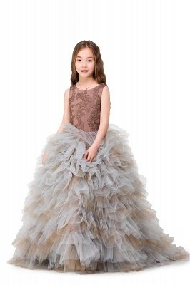 HEAVEN| Ball Gown Court Train Jewel Sleeveless Tulle Embroidery Mother Daughter Dresses_9