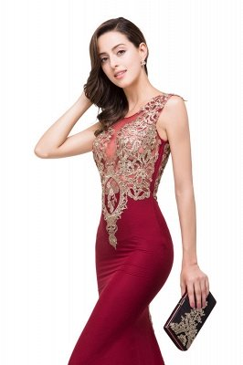 HADASSAH | Mermaid Crew Sweep-length Burgundy Formal Dresses With Applique_8