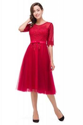 HARPER | A-line Crew Knee-length Half Sleeve Sashes Bridesmaid Dresses With Applique_5