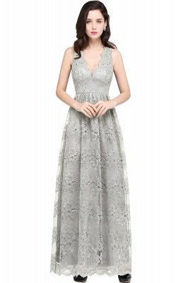 CHAYA | Sheath V-neck Floor-length Lace Navy Blue Prom Dress_7