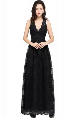 CHAYA | Sheath V-neck Floor-length Lace Navy Blue Prom Dress_6