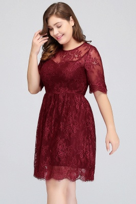 B-JASMINE | A-Line Crew Half Sleeves Lace Burgundy Plus size homecoming Dresses_3