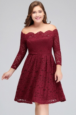 JASMIN | A-Line Off-Shoulder Short Lace Burgundy Plus size homecoming Dresses_5