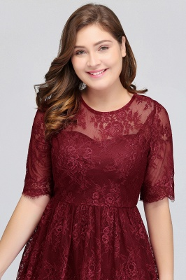 B-JASMINE | A-Line Crew Half Sleeves Lace Burgundy Plus size homecoming Dresses_6