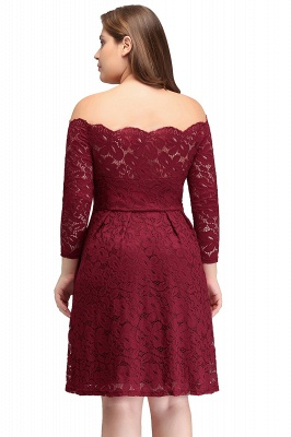 JASMIN | A-Line Off-Shoulder Short Lace Burgundy Plus size homecoming Dresses_3
