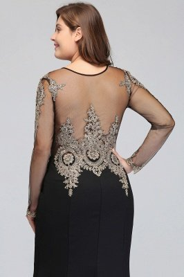 ISABELLE | Mermaid Crew Floor Length Long Sleeves Plus size Evening Dresses with Appliques_8