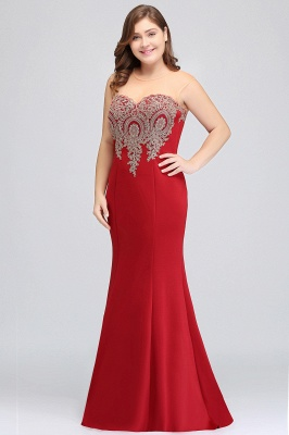INGRID | Mermaid Crew Illusion Long Sleeveless Burgundy Plus size Formal Dresses with Appliques_8
