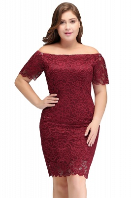 JAYDA | Mermaid Off-Shoulder Short Lace Burgundy Plus size homecoming Dresses with Sleeves_1