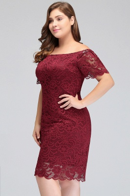 JAYDA | Mermaid Off-Shoulder Short Lace Burgundy Plus size homecoming Dresses with Sleeves_5