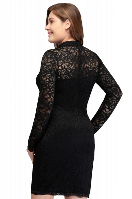 JANE | Mermaid Crew Short Long Sleeves Lace Black Plus size homecoming Dresses_3