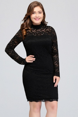 JANE | Mermaid Crew Short Long Sleeves Lace Black Plus size homecoming Dresses_4