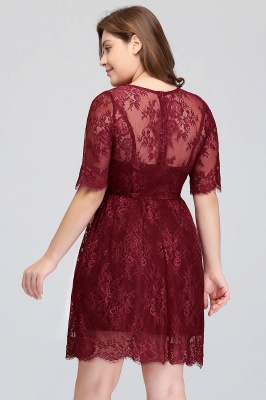 B-JASMINE | A-Line Crew Half Sleeves Lace Burgundy Plus size homecoming Dresses_9