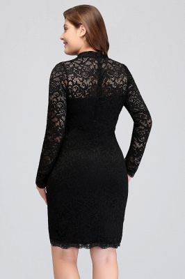 JANE | Mermaid Crew Short Long Sleeves Lace Black Plus size homecoming Dresses_10