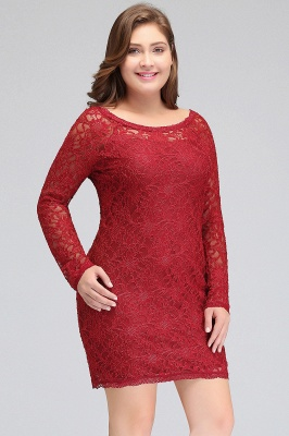 JANELLE | Sheath Scoop Short Long Sleeves Plus size homecoming Dresses Lace Burgundy_8