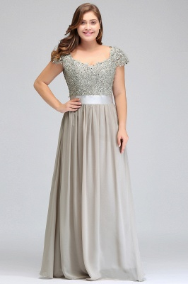 ADA | A-line V Neck Chiffon Bridesmaid Dress with Appliques_9