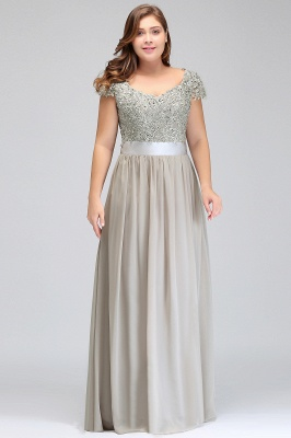 HOLLAND   A-Line Scoop Floor Length Cap Sleeves Appliques Silver Evening Dresses with Sash_10