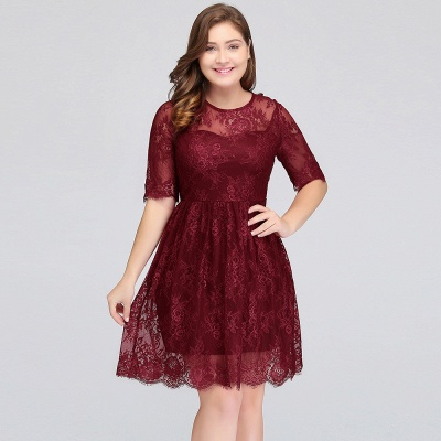 B-JASMINE | A-Line Crew Half Sleeves Lace Burgundy Plus size homecoming Dresses_11