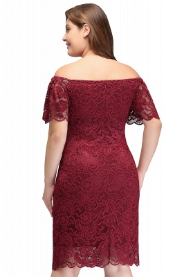 JAYDA | Mermaid Off-Shoulder Short Lace Burgundy Plus size homecoming Dresses with Sleeves_3