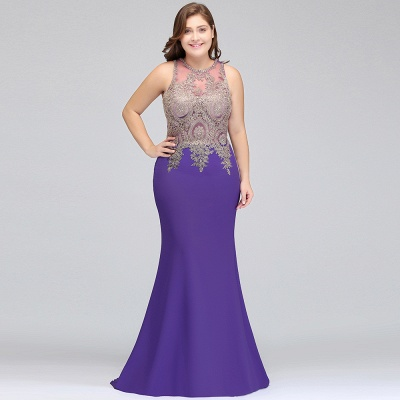 2018 long plus size evening dresses with Appliques