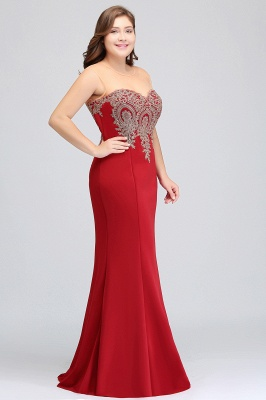 INGRID | Mermaid Crew Illusion Long Sleeveless Burgundy Plus size Formal Dresses with Appliques_6