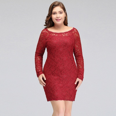 JANELLE | Sheath Scoop Short Long Sleeves Plus size homecoming Dresses Lace Burgundy_10
