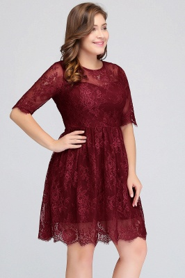 B-JASMINE | A-Line Crew Half Sleeves Lace Burgundy Plus size homecoming Dresses_5