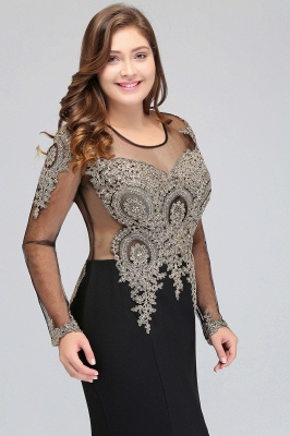 ISABELLE | Mermaid Crew Floor Length Long Sleeves Plus size Evening Dresses with Appliques_6