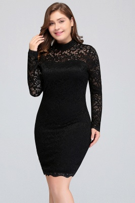 JANE | Mermaid Crew Short Long Sleeves Lace Black Plus size homecoming Dresses_5