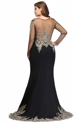 ISABELLE | Mermaid Crew Floor Length Long Sleeves Plus size Evening Dresses with Appliques_3