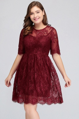 BRITTANY | A-Line Round Neck Short Lace Burgundy Homecoming Dresses_7